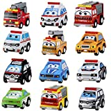 BBLIKE 12Pcs Pull Back Vehicles Mini Cars Construction Vehicles Set Early Educational Toys, Plastic Model Toy Sets Classic Construction Team Vehicle Play Trucks for 3 Year Olds(12 cute cars)