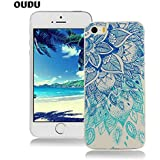 OuDu Silicone Case for iPhone 5/5S Soft TPU Rubber Cover Flexible Slim Case Smooth Lightweight Skin Ultra Thin Shell Creative Design Cover Anti-Scratch Anti-Shock Protective Bumper - Blue Lotus
