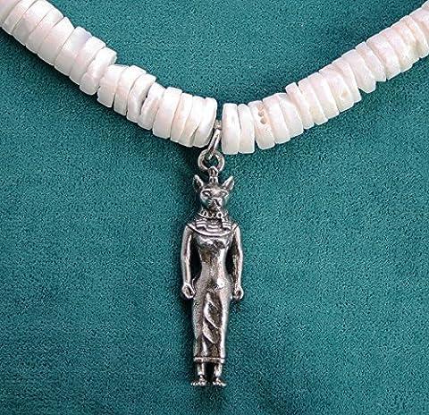 Pendentif Dieu Égyptien Bast sur Collier de Coquillages (avec Boîte à Cadeau)