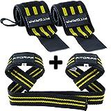 Fitgriff Handgelenkbandagen + Zughilfen (2Paar/4Stück) Premium Fitness Set für Kraftsport, Bodybuilding und Krafttraining - für Frauen und Männer - 2 Jahre Gewährleistung (Schwarz/Gelb)