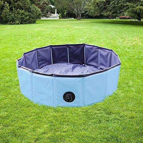 YAOBLUESEA Plegable Portátil Piscina Perro Piscina Pet Piscina de baño plegable para perro mascota azul 160X30cm (ΦxH)