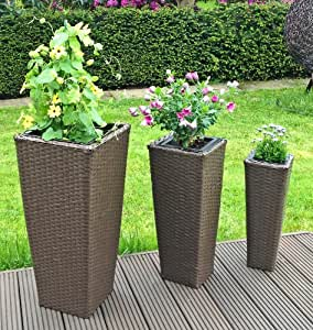3er set rattan blument pfe blumen pflanzen k bel st nder garten blumentopf in braun f r innen. Black Bedroom Furniture Sets. Home Design Ideas
