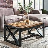 FineBuy Design Couchtisch BALLARI 102 x 46 x 61 cm massiv Holz Sofatisch mit Metallgestell | Wohnzimmertisch rechteckig Massivholz braun | Holztisch modern | Tisch Wohnzimmer