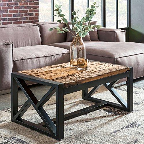 FineBuy Design Couchtisch BALLARI 102 x 46 x 61 cm massiv Holz Sofatisch mit Metallgestell   Wohnzimmertisch rechteckig Massivholz braun   Holztisch modern   Tisch Wohnzimmer