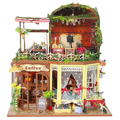 , Ruiya¡¯s Time Cafe Model Handcraft Miniature Kit with Music box and Dust Proof Cover ()