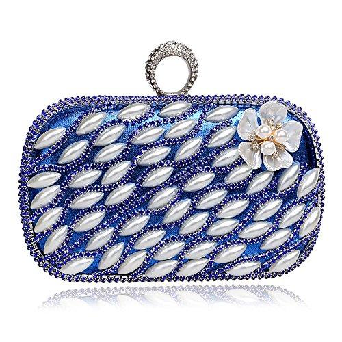 Knöchel Geldbeutel (Santimon Damen Clutches Ein-Ring-Knöchel Handtasche Floral Strass Abendtaschen Mit Bügel)