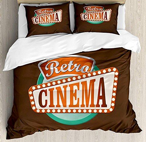 LIS HOME Kino Queen Size Bettbezug-Set, Retro Style Cinema Sign Design Film Festival Hollywood Theme, dekorative 3-teiliges Bettwäscheset mit 2 Kissen-Shams, brauner Türkis-Zinnoberrot