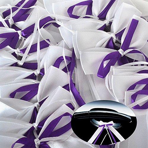 & Lila Autoschleifen aus Satin Hochzeit Antennenschleifen Dekoration für Hochzeit,Hochzeit Deko, Weiss Autoschmuck Autoschleifen ()