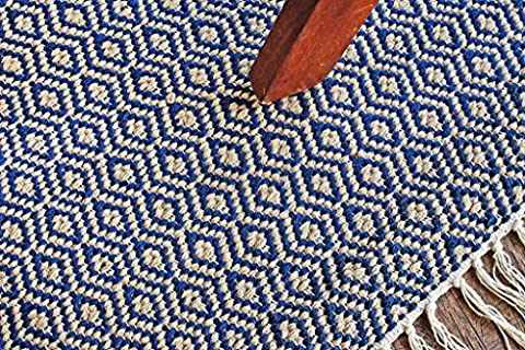 Hand-Woven Flatweave 4' x 6' Navy Blue/White Diamond Pattern Area Rug, Style: 2088