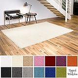 Shaggy-Teppich | Flauschige Hochflor Teppiche für Wohnzimmer Küche Flur Schlafzimmer oder Kinderzimmer | Einfarbig, schadstoffgeprüft, allergikergeeignet (Creme, 60 x 90 cm)