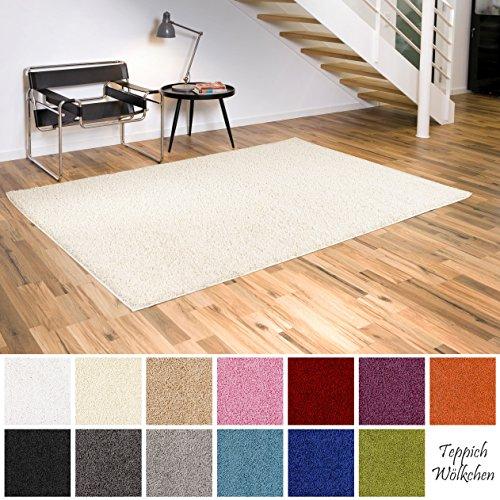 Shaggy-Teppich | Flauschige Hochflor Teppiche für Wohnzimmer Küche Flur Schlafzimmer oder Kinderzimmer | Einfarbig, schadstoffgeprüft, allergikergeeignet (Creme, 160 x 230 cm)