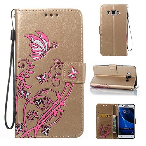 Cozy Hut Samsung J5108/Galaxy J5(2016) Hülle, Narcissus Muster Leder Wallet Case Handyhülle Klapper Tasche Magnetverschluß mit Kartenfach Standfunktion für Samsung J5108/Galaxy J5(2016) - golden