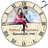 #6: Hupppme Personalized Roman Love Round Glass Wall Clock