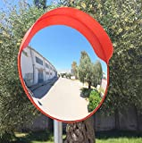 ECM-60-O2-o Konvex Spiegel, orange Farbe, 60 cm Durchmesser, für Verkehrssicherheit und Schutz vor Ladendieben mit einstellbarem Befestigungsbügel für 60 mm Stangen