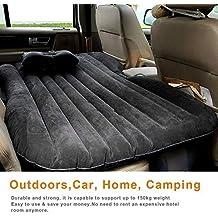 Olayer colchón de aire para coche o al aire libre, hinchable, con bomba, agamuzado, Unisex, negro
