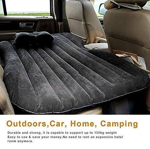 olayer Auto Outdoor Travel Air Matratze Rest Kissen aufblasbares Bett wildlederartige mit Pumpe Rücksitz Verlängerte Matratze schwarz schwarz