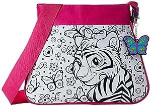 Wild Republic 10694 - Fashion Bag Pink Motiv Afrika zum selbst gestalten mit Schlüsselanhänger, 32 Teile