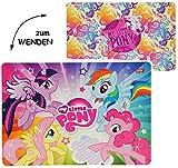 WENDE - Unterlage -' My little Pony' - 42 cm * 30 cm - beidseitig bedruckt & beschichtet - Tischunterlage / Platzdeckchen / Malunterlage / Knetunterlage / Eßunterlage - Einhorn Pferde - für Kinder Mädchen / kleine Schreibunterlage - Matte - Folie