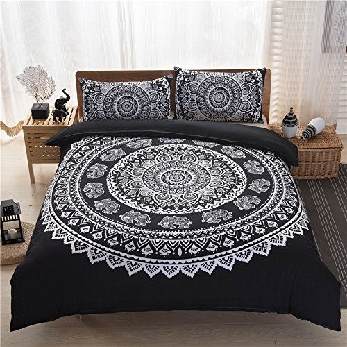 Sleephope 3 Piezas De Bohemia Edredón Fundas Conjunto Tamaño Queen Mandala Elefantes...
