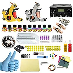WORMHOLE TATTOO Complete Starter Tattoo Kit 2 Machine Gun 10 Color Inks Dual double Power Supply CD002