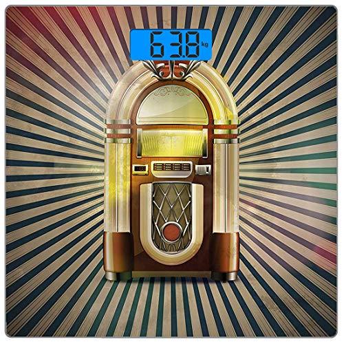 rsonenwaage Jukebox Ultra Slim gehärtetes Glas Personenwaage genaue Gewichtsmessungen, Retro Vintage 50er Jahre Pin Up inspiriert gestreiften Hintergrund alte Spieluhr, Multicolor ()