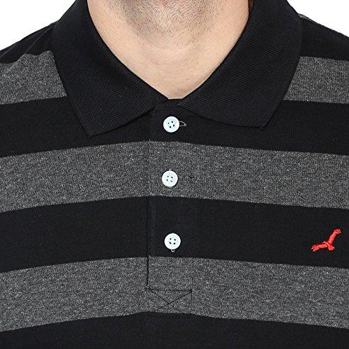 AMERICAN CREW Men's Polo Collar Black & Charcoal Melange Stripes T-Shirt - L (AC569-L)