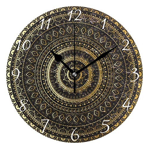 Ahomy Runde Wanduhr mit indischem Mandala, Hausdekoration, kein Ticken, Ziffernuhr, 1 AA-Batterie (Nicht im Lieferumfang...
