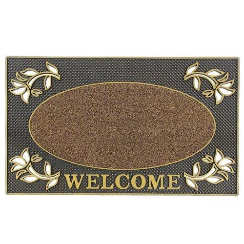 Gold Oval Teppich (JVL Welcome Metallic-Look rechteckig Floral Hard tragen Eingang Boden Fußmatte, PVC, Gold und Schwarz)