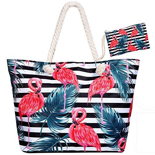 Meersee Große Strandtasche mit Reißverschluss und Innentasche Wasserdicht Badetasche Einkaufstasche Shopper für Damen,Schwarze Flaming...