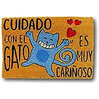KOOK TIME Koko Dormats Felpudo para Entrada de Casa Original, Cuidado Gato, Fibra de Coco y PVC, 40x60cm