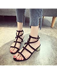 LGK&FA Zapatos Con Tacones Altos Tacones Y Zapatos Gruesos 39 Negro