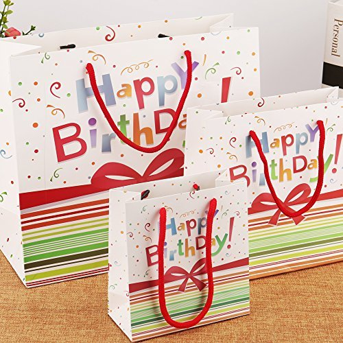 5 Pack High Quality Birthday Gift Bags With Ribbon Handle 1 Large 2