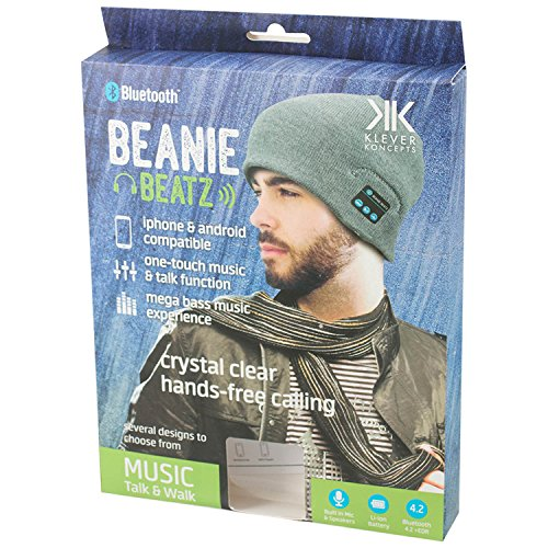 Klever Koncepts Mega_Jumble® Wireless Bluetooth Bobble Beanie Cap Hat Headphones Music With Mic Compatible For iPhone, Ipod, Samsung and Android Mobiles UK One Size Unisex