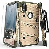 Zizo Bolt Custodia per iPhone X, Desert Tan/Camo Verde