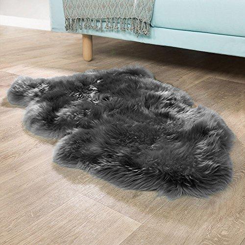 Paco Home Australisches Lammfell Naturfell Bettvorleger Echtes Schaffell In Anthrazit Grau, Grösse:100x68 cm