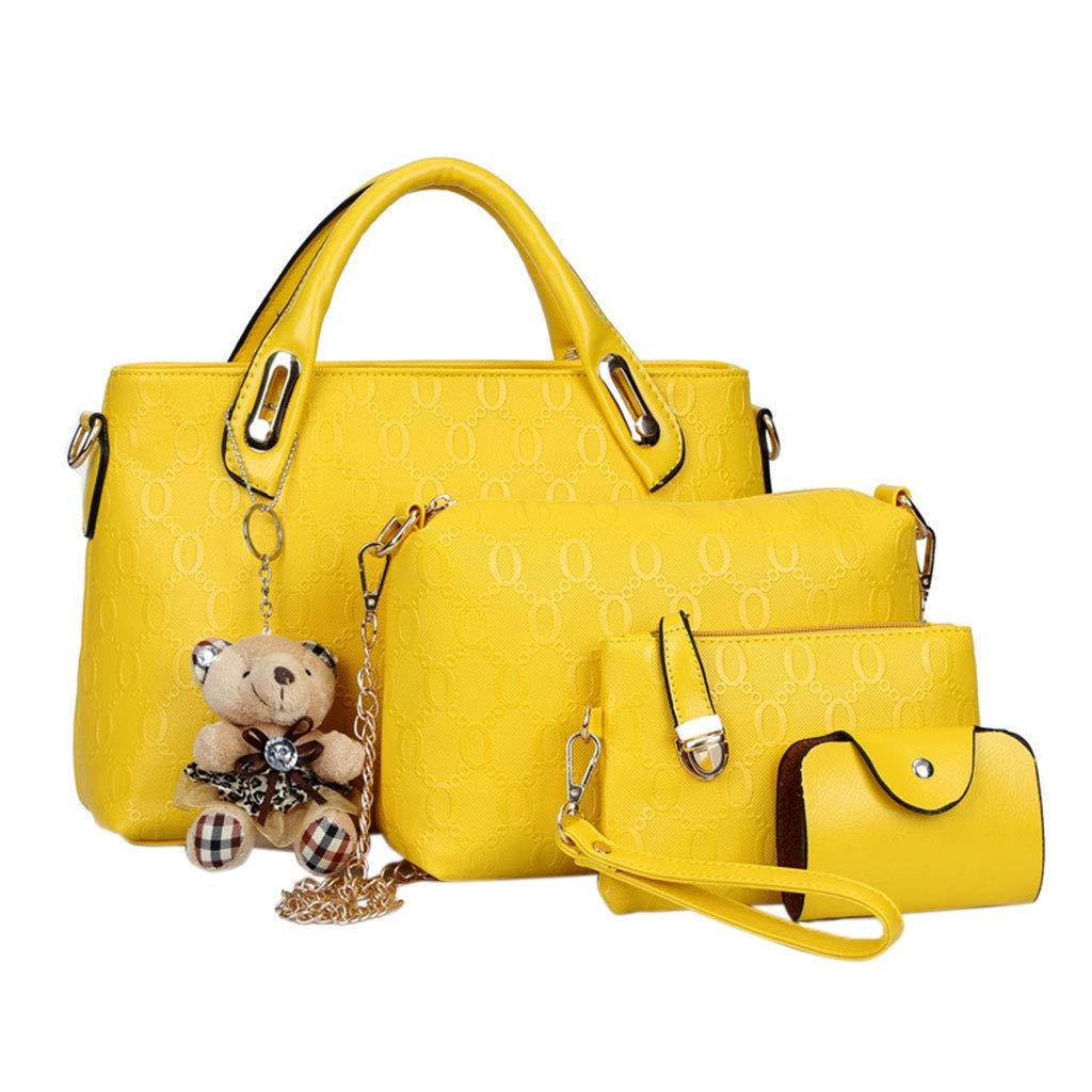 KINTRADE 4PCS / Set Bolso de Asas de Cuero para Mujer Bolso Messenger Bag Wallet