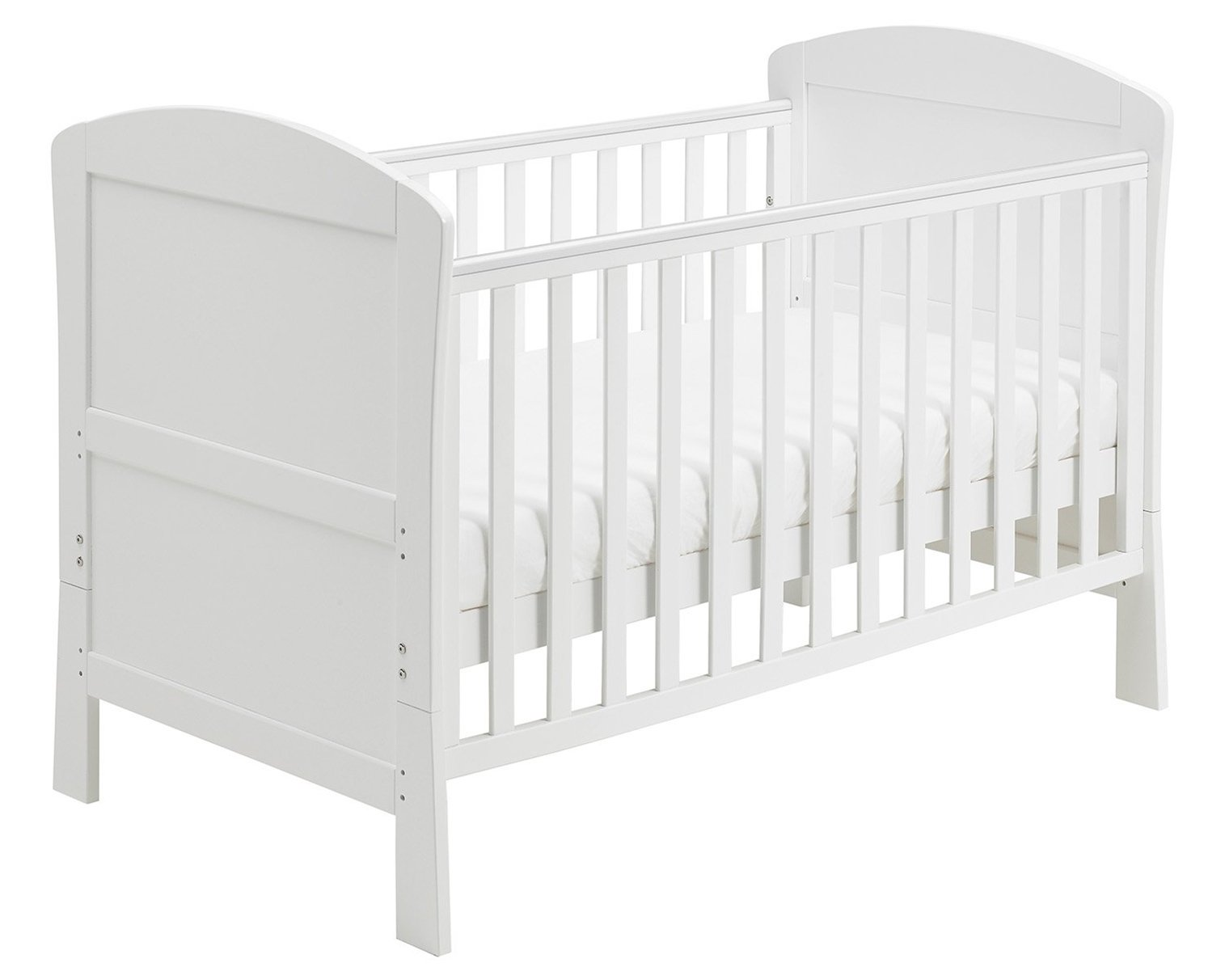 Babymore Aston Drop Side Cot Bed (White)  3-base heights 1-drop side, 1-fixed side 2-split ends convert to bed 2