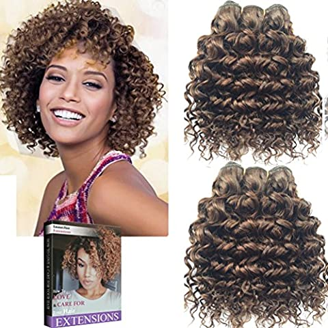 Emmet Short Curly Hair Extension 8Inch Easy Installing & Sewing Ombre Colors Brazilian Human Hair Can be Dyed and Permed Afro Kinky Weave 2Bundles/lot 50g/Bundle (4#)