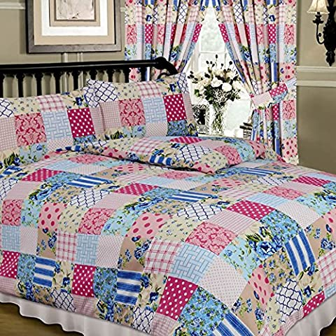 Patchwork Blue, Single Bed Duvet / Quilt Cover Set, Floral Damask Polka Dots Spots Flowers Thatch Weave Tartan Check, Pink Blue Cream White Beige