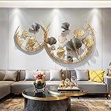 WJQQ 3D wanddecoratie metaal, wanddecoratie, wanddecoratie, decoratie ginkgo, tuin woonkamer, slaapkamer, eetkamer wooncultuu
