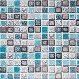 Hode Adhesivo de Azulejo para Cocina, Baño 40X200cm Mosaico Efecto Pegatinas de Baldosas-Stickers Azulejos