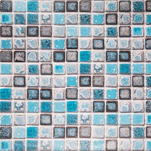 Hode Klebefolie Fliesenaufkleber, Dekorative Fliesenfolie 40cmX200cm (Blau) Vinyl, für Badezimmer Wand, Küche, Wasserdicht, Leicht zu Reinigen