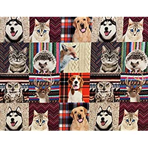 Stoffeldorado - Meterware Dekostoff, Digitaldruck Katze Hund Igel Fuchs Eule Hirsch, Multicolor, 140 cm Breit