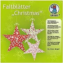 Ursus 32955 - Faltblätter Christmas, ca. 15 x 15 cm, 80 g/qm, sortiert in 10 Designs, 120 Blatt