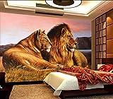 BZDHWWH Papier Peint Photo Personnalisé Des Prairies D'Afrique Lion Salon Chambre À Coucher Mur À L'Arrière-Plan Un Décor Papier Animaux Peinture Murale De Parede 3D,170Cm (H) X 255Cm (W)...