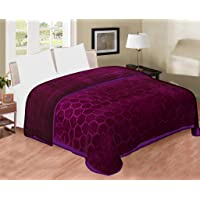 aqrate Embossed Very Warm Korean Mink Blanket Single Bed for Winter (60 x 90 Inches) Purple