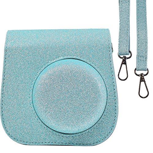 Glänzende Kameratasche Tasche für Fujifilm Instax Mini 9 Sofortbildkamera und Fujifilm Instax Mini 8 Sofortbildkamera mit Armband - Glänzende Stern-Blau, Durch SAIKA