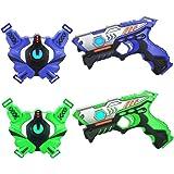 TINOTEEN infrarrojo Laser Tag Armas y Chalecos Juego de 2 Jugadores(Azul & Verde)