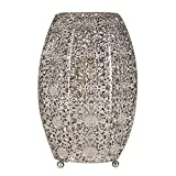 Intricate Moroccan Style Brushed Chrome Metal Filgree Design Table Lamp