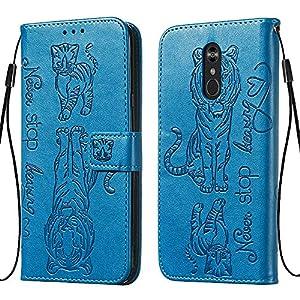 FAWUMAN Hülle für LG Stylo 4 / LG Q Stylus/LG Stylus 4 Mit Schlüsselband,TPU+PU Klapphülle Brieftasche Kartenfächer Handyhülle Stylish Flip Magnetverschluss Geschlossen Case mit Standfunktion-Blau